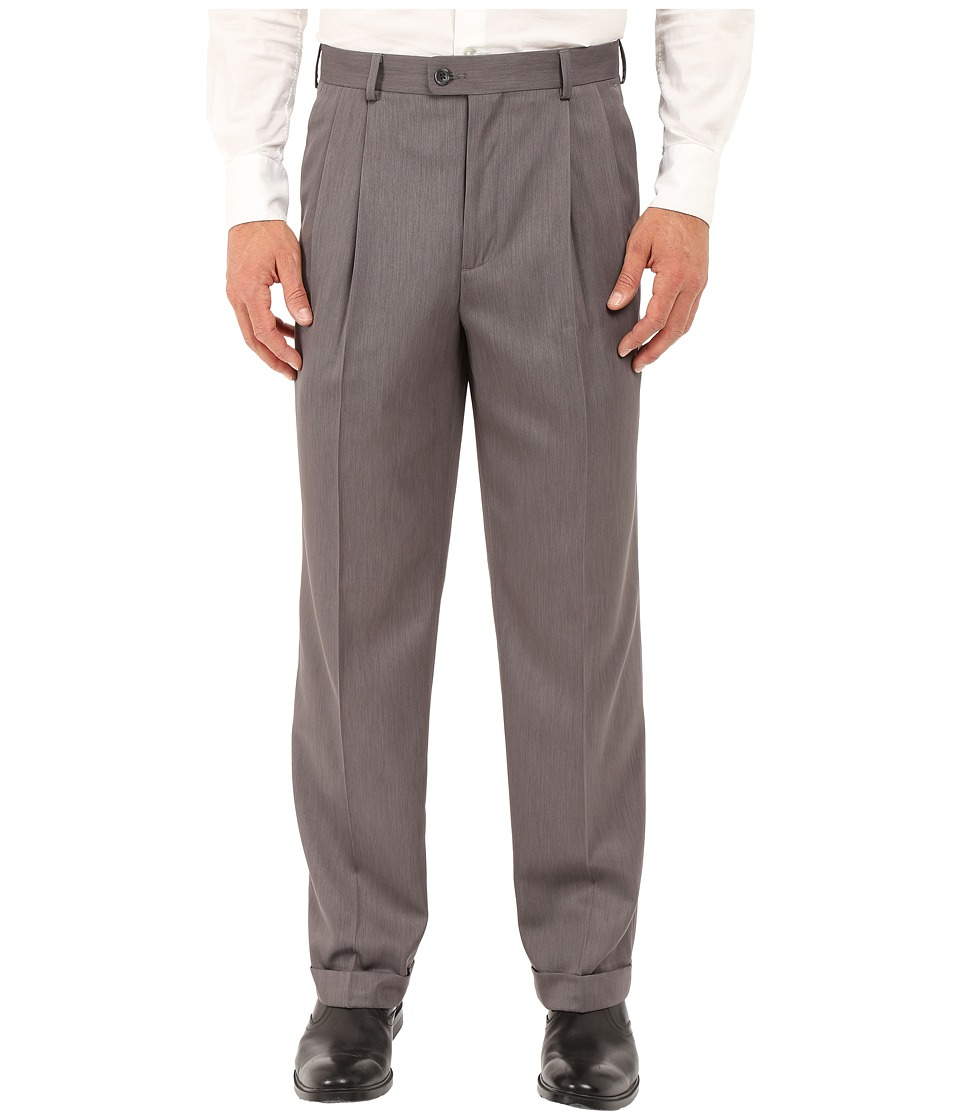 Perry Ellis Portfolio - Classic Fit Double Pleat Micro-Melange Pant (Grey Heather) Men's Casual Pants