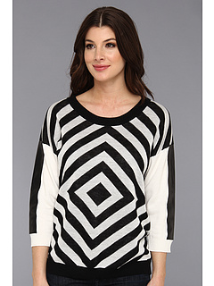 SALE! $89.99 - Save $108 on Townsen Geometric Sweater (White Black) Apparel - 54.55% OFF $198.00