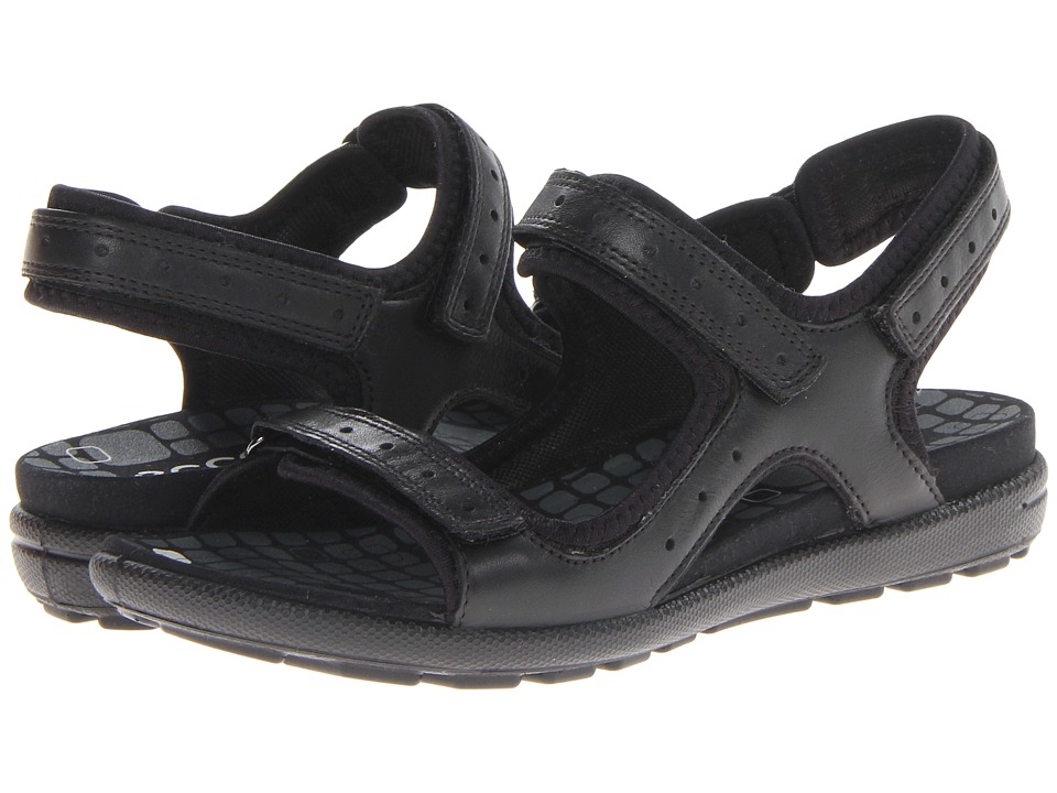 ECCO - Jab Strap Sandal (Black/Black Feather/Textile/Sole) Women