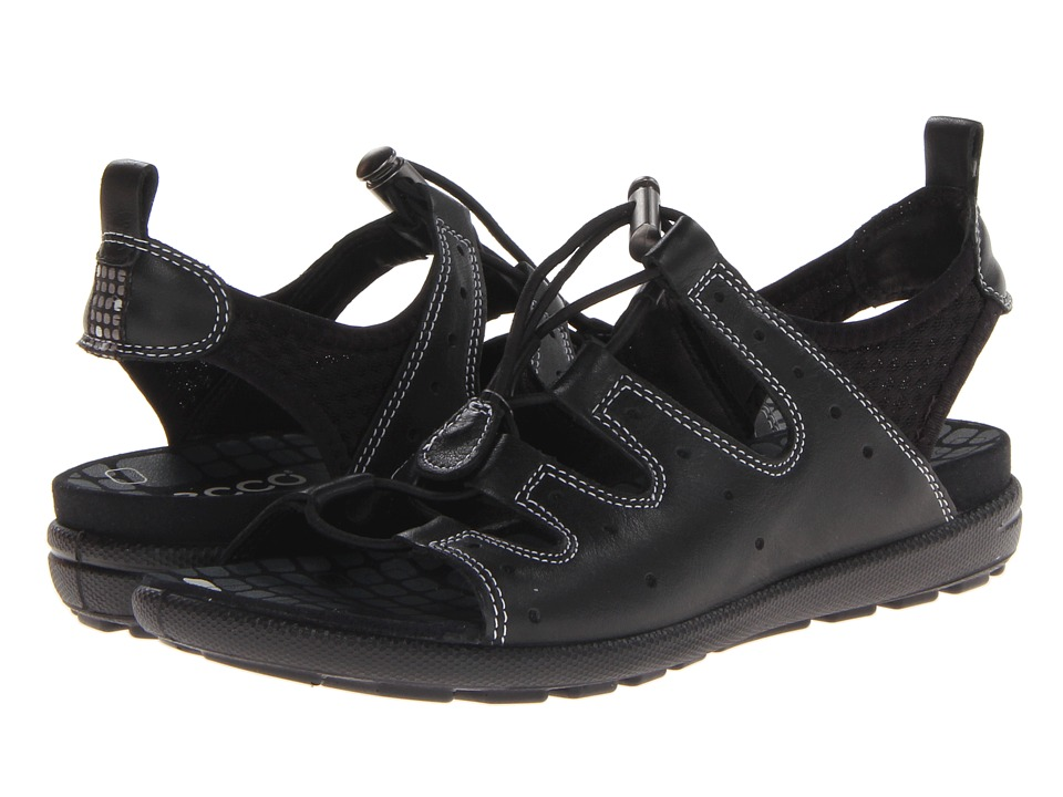 ECCO - Jab Toggle Sandal (Black/Black Feather/Textile/Sole) Women's Sandals