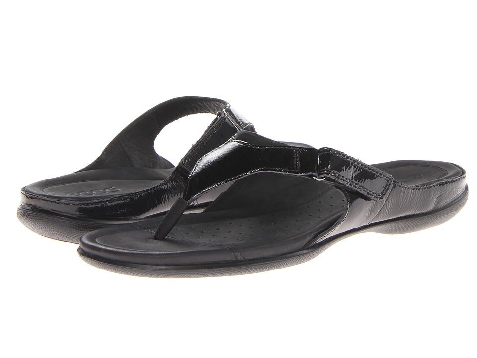 ECCO - Flash Thong (Black Nap Lack) Women's Shoes