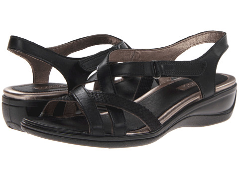ECCO - Sensata Cross Strap Sandal (Black/Black Feather/Clodine) Women