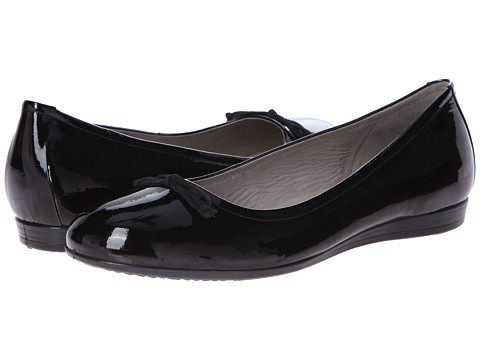 ECCO - Touch 15 Bow Ballerina (Black Patent) Women's Shoes