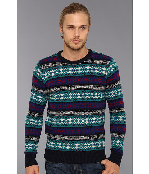Scotch & Soda - Intarsia Knitted Crew Neck Sweater (Teal/Navy) Men's Sweater