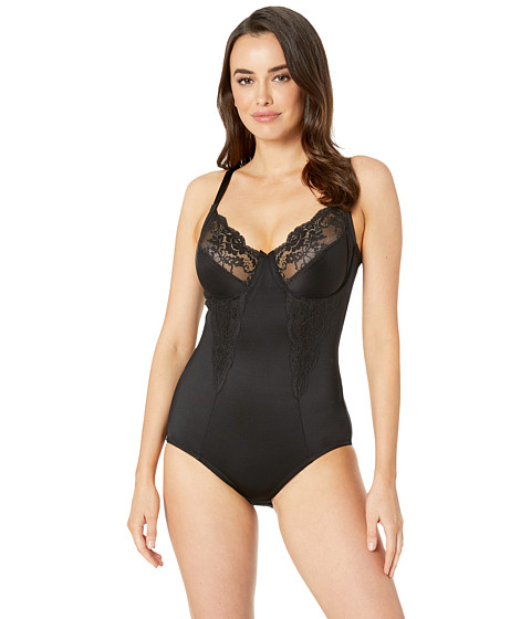 Flexees by Maidenform - Pretty Shapewear Embellished Unlined Body Briefer (Black) Women