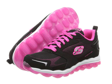 SKECHERS KIDS - SKECH AIR - Bizzy Bounce - 80221L (Little Kid/Big Kid) (Black Smooth/Suede/Hot Pink Trim) Girl's Shoes