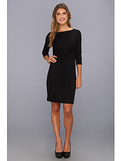 SALE! $54.99 - Save $63 on Three Dots 3 4 Sleeve Boat Neck Twist Front Dress (Black) Apparel - 53.40% OFF $118.00