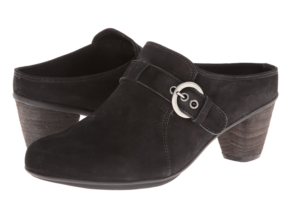 Rose Petals - Pleasure (Black Roughout Leather) Women's Clog Shoes
