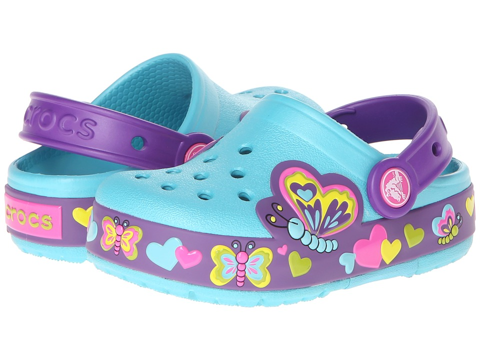 Crocs Kids - CrocsLights Lighted Butterfly Clog (Toddler/Little Kid) (Aqua/Neon Purple) Girl's Shoes