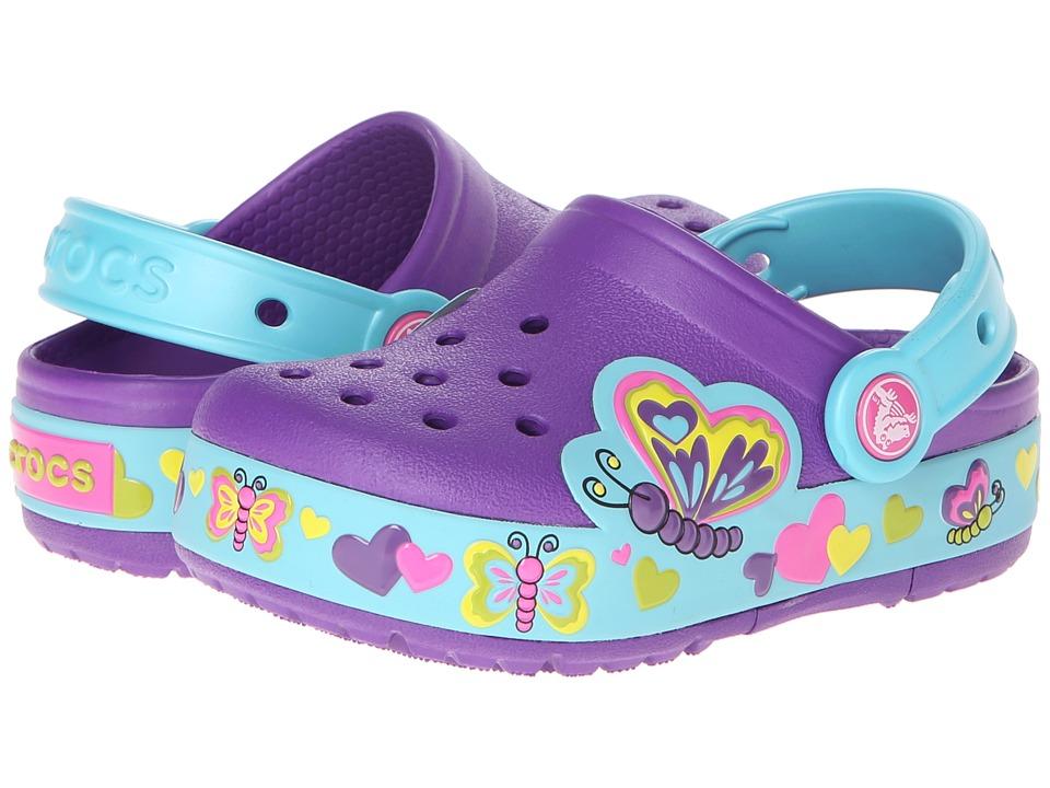 Crocs Kids - CrocsLights Lighted Butterfly Clog (Toddler/Little Kid) (Neon Purple/Aqua) Girl's Shoes
