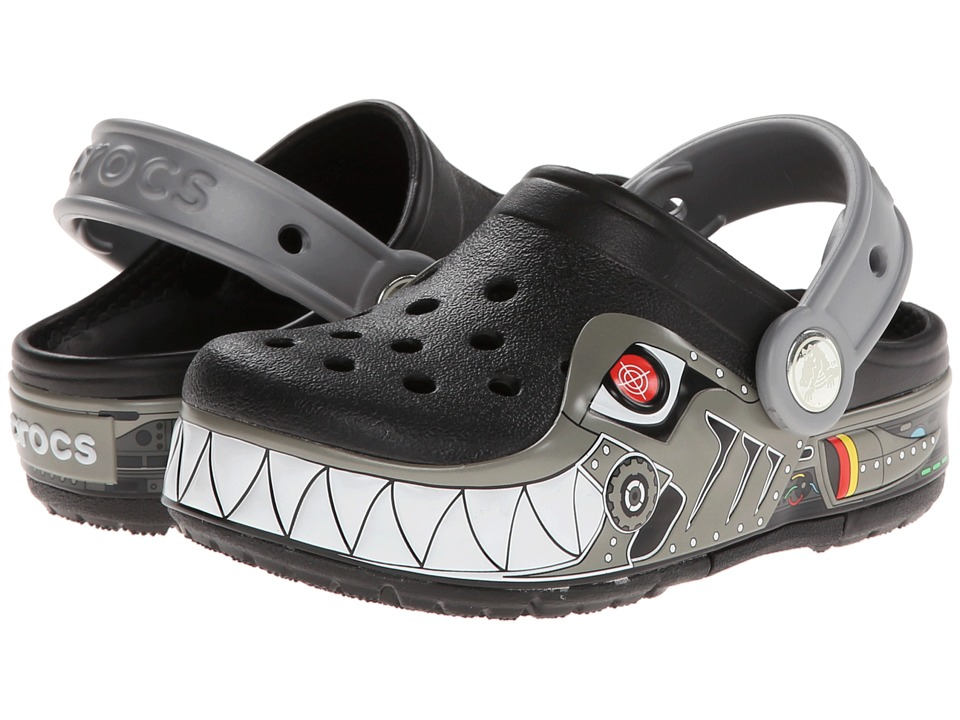 Crocs Kids - CrocsLights Lighted Robo Shark Clog (Toddler/Little Kid) (Black/Silver) Boy's Shoes