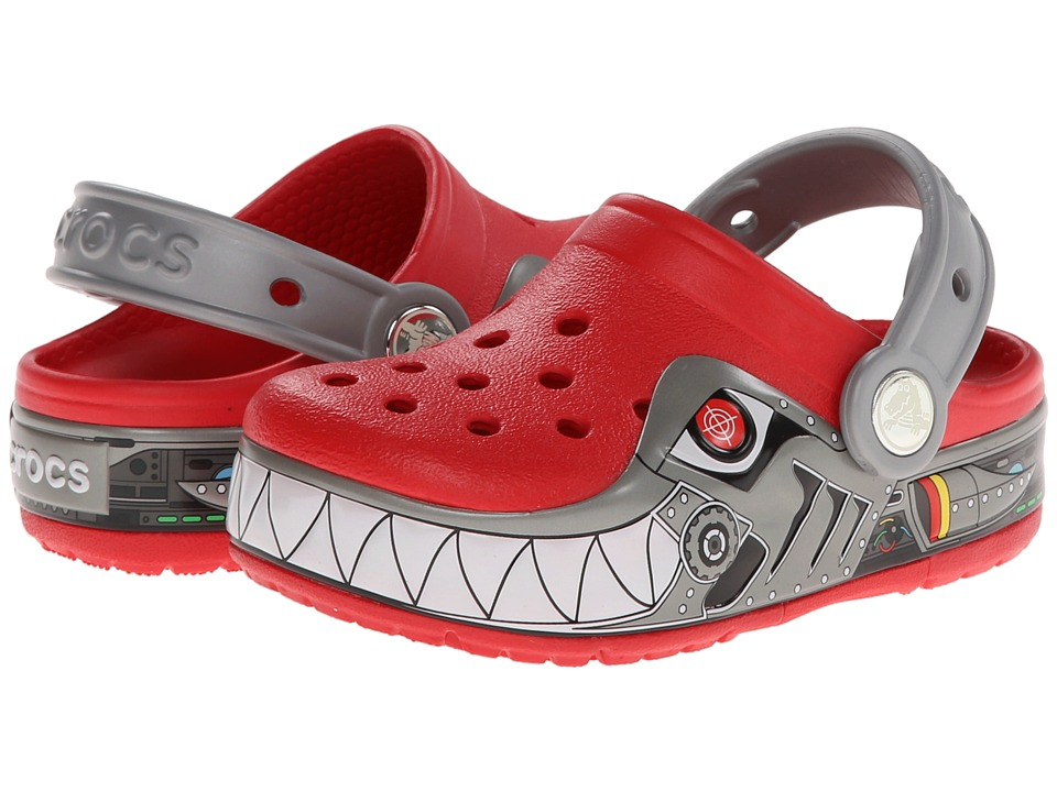 Crocs Kids - CrocsLights Lighted Robo Shark Clog (Toddler/Little Kid) (Red/Silver) Boy's Shoes