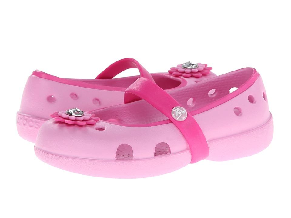 Crocs Kids - Keeley Petal Charm Flat (Toddler/Little Kid) (Carnation/Neon Magenta) Girls Shoes