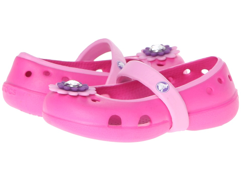 Crocs Kids - Keeley Petal Charm Flat (Toddler/Little Kid) (Neon Magenta/Carnation) Girls Shoes