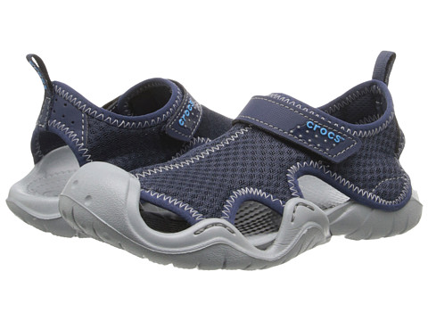 Crocs Kids - Swiftwater Sandal (Little Kid/Big Kid) (Navy/Light Grey) Boy