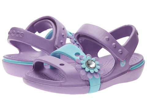Crocs Kids - Keeley Petal Charm Sandal (Toddler/Little Kid) (Iris/Ice Blue) Girls Shoes