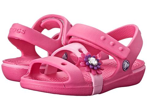 Crocs Kids - Keeley Petal Charm Sandal (Toddler/Little Kid) (Neon Magenta/Carnation) Girls Shoes