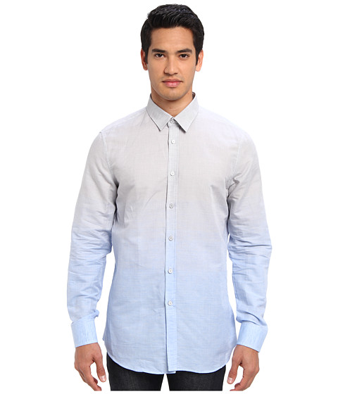 Bikkembergs - L/S Degrade Button Up (Sky Blue) Men's Short Sleeve Pullover