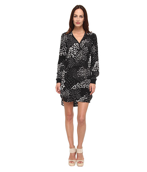 tibi - Leopard Ditzy Long Sleeve Henley Dress (Black Multi) Women's Dress