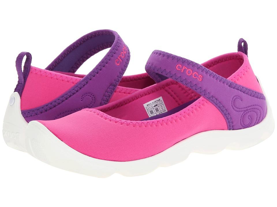 Crocs Kids - Busy Day MJ Flat Girls (Little Kid/Big Kid) (Neon Magenta/Neon Purple) Girls Shoes