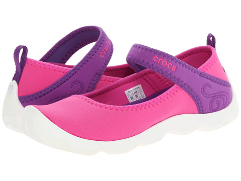 Crocs Kids - Busy Day MJ Flat Girls (Little Kid/Big Kid) (Neon Magenta/Neon Purple) Girls Shoes