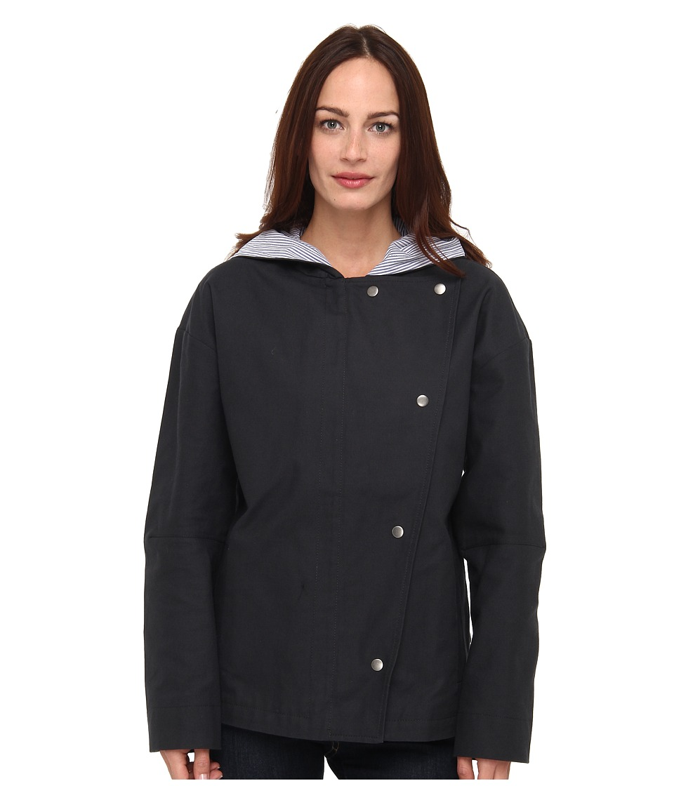 tibi - Hudson Twill Anorak w/ Stripe Linng (Black Multi) Women's Coat
