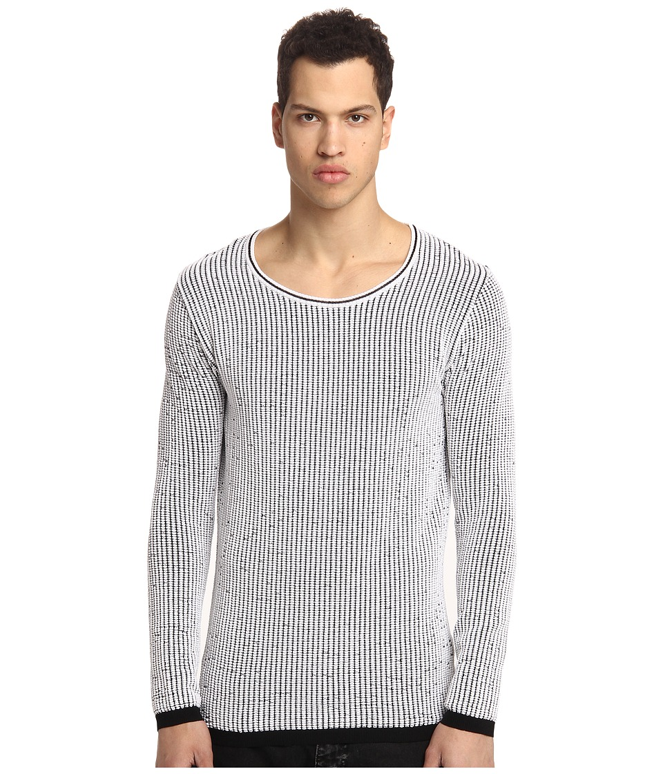CoSTUME NATIONAL - 3-D Knit Roundneck Pullover (Black/White) Men's T Shirt