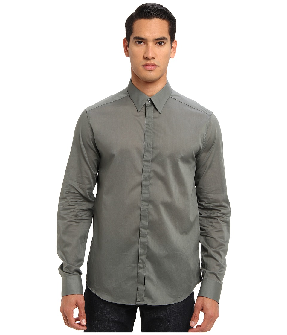 CoSTUME NATIONAL Essential Button Up Grey Mens Long Sleeve Button Up
