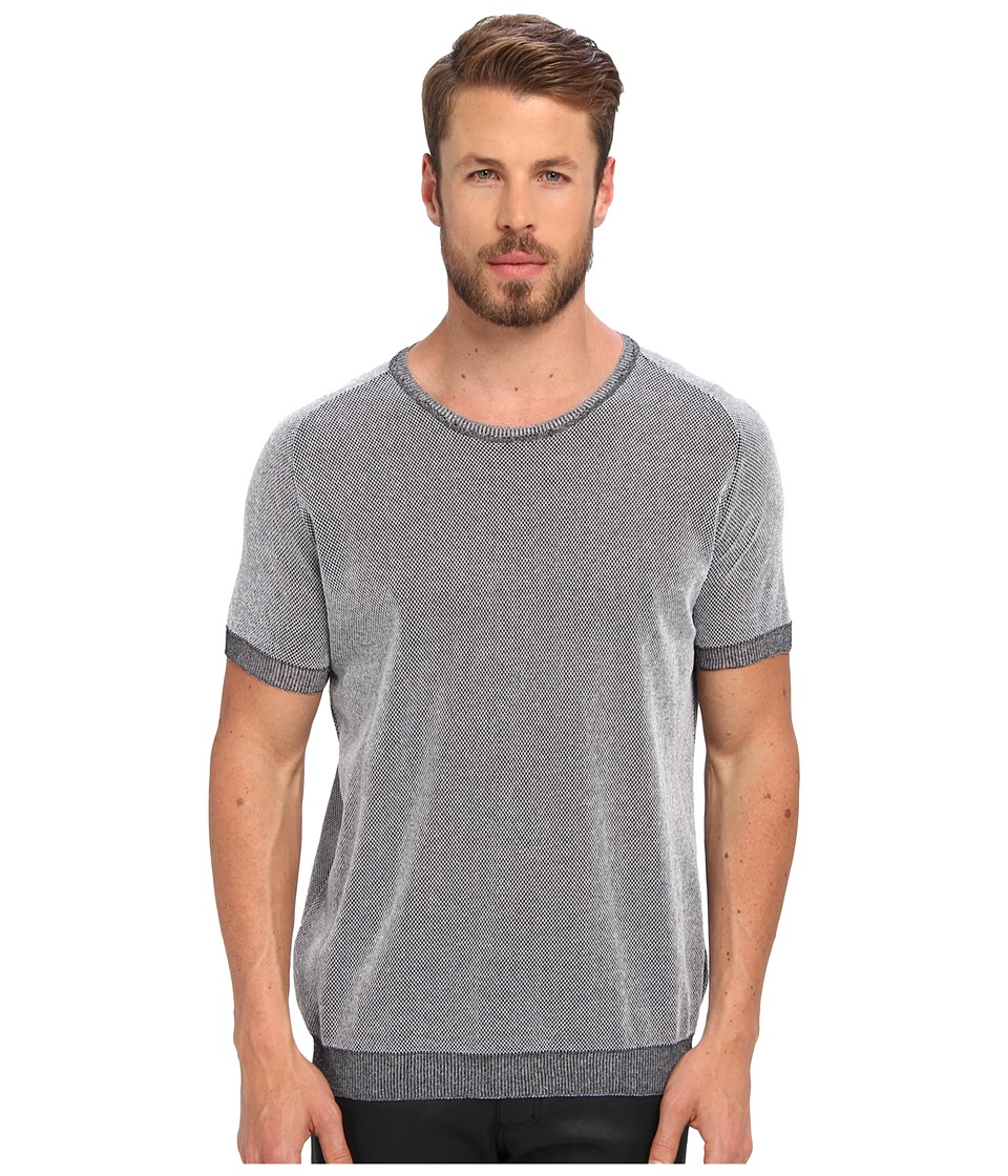 CoSTUME NATIONAL - Honeycomb S/S Roundneck Pullover (Black/White) Men's Short Sleeve Pullover