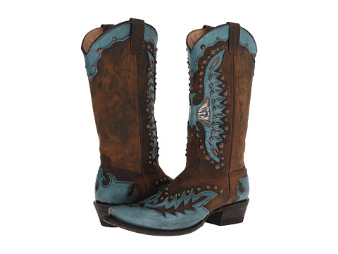 Stetson - Studded Eagle Boot (Brown Mad Dog Goat/Turquoise) Cowboy Boots