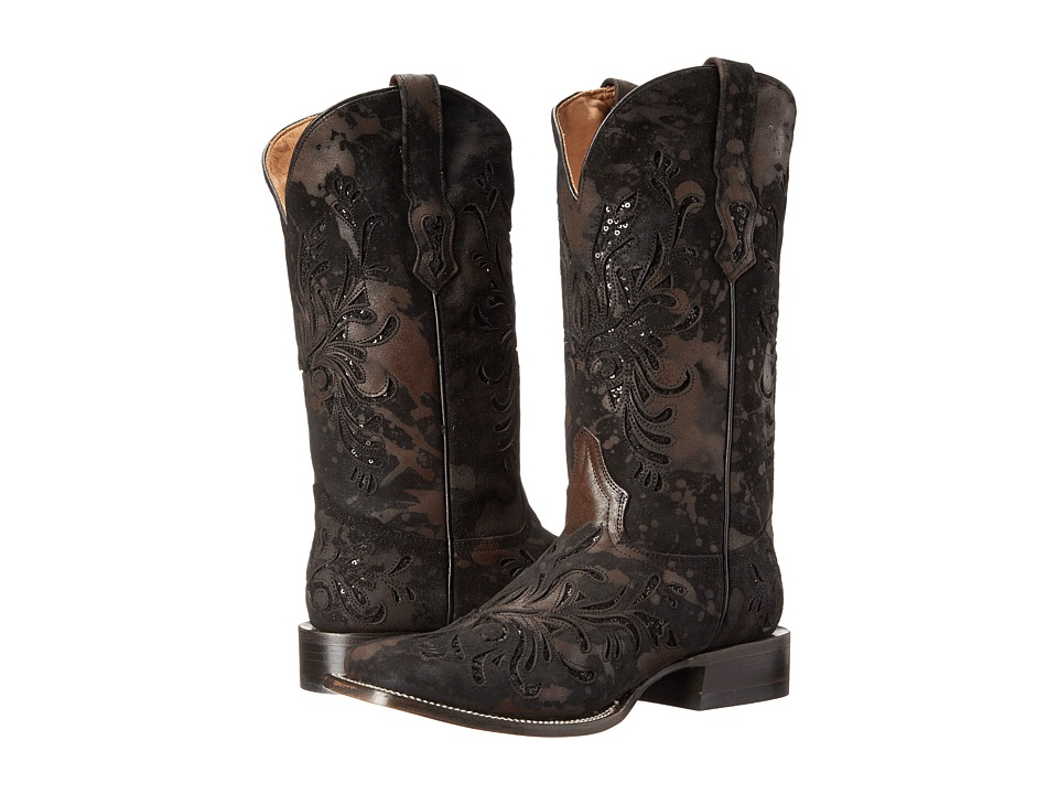 Stetson - 13Sequin Underlay Double Welt Wide Square Toe (Spot Black Cow Leather) Cowboy Boots