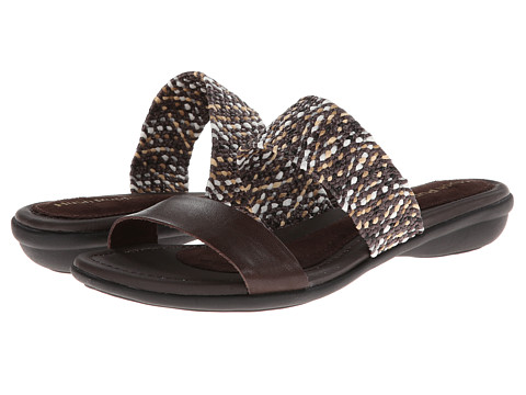 Hush Puppies - Nishi Slide (Dark Brown Leather/Woven) Women's Slide Shoes