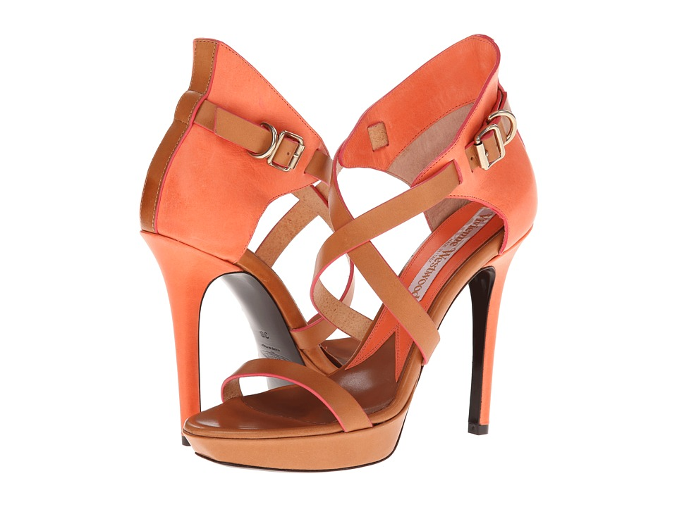 Vivienne Westwood Colorblock Strappy Heels (Apricot) High Heels