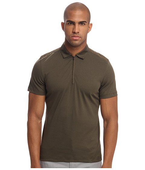 Michael Kors - Nylon Trim Polo (Army) Men's Clothing
