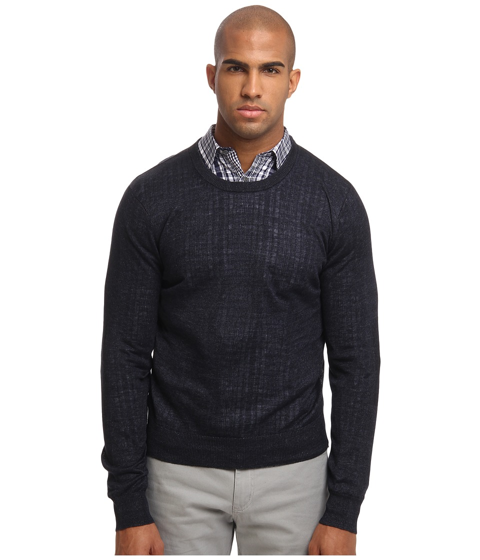 Michael Kors - Linen Crew with Elbow Patch (Dark Indigo) Men's Clothing