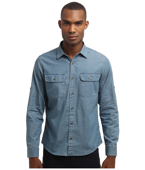 Michael Kors - Denim Two-Pocket Shirt (Bleach Fade Wash) Men's Long Sleeve Button Up