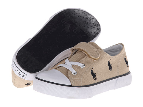 Polo Ralph Lauren Kids - Bel Harbour Cap Toe Repeat (Toddler) (Khaki Canvas/Navy Ponies) Boy's Shoes