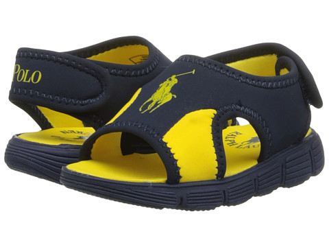 Polo Ralph Lauren Kids - Wavecroft (Toddler) (Navy Neoprene/Yellow) Boy's Shoes