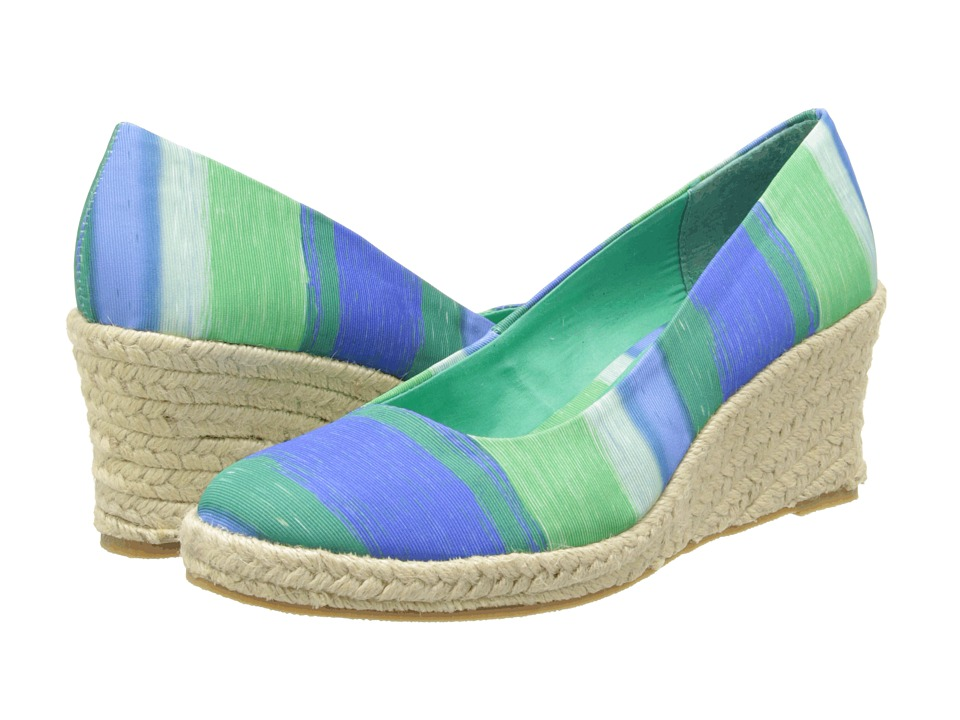 Soft Style - Feri (Blue/Jade Large Stripe) Women's Wedge Shoes
