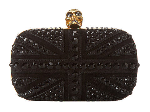 Alexander McQueen - Studded Crystal Britannia (Black) Clutch Handbags