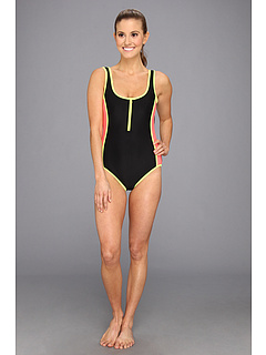 SALE! $19.99 - Save $46 on TYR Huntington Beach Solid Zipper Low Back One Piece Swimsuit (Black) Apparel - 69.71% OFF $66.00