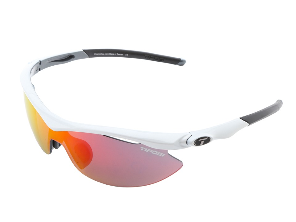 Tifosi Optics - Slip Mirrored Interchangeable (White/Gunmetal/Clarion Red/AC Red/Clear Lens) Athletic Performance Sport Sunglasses