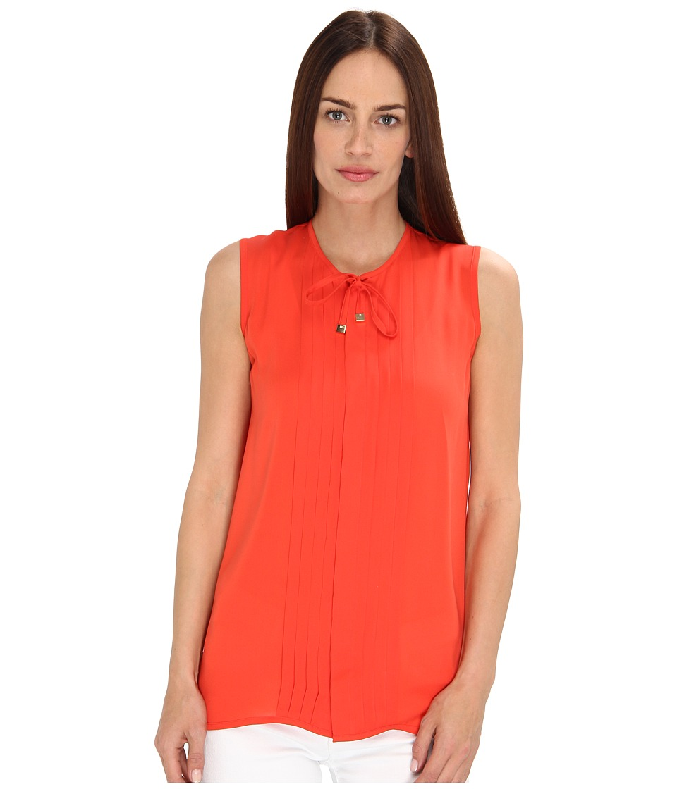 DSQUARED2 - Pleated Dolly Sleeveless Shirt (Coral) Women's Blouse