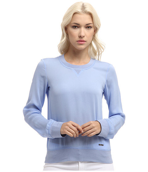 DSQUARED2 - Sporty Couture Long Sleeves Top (Light Blue) Women's Blouse