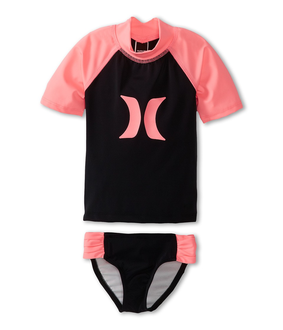 Hurley Kids - One Only Rashguard Banded Pant (Little Kids) (Black/Pink) Girl's Swimwear Sets