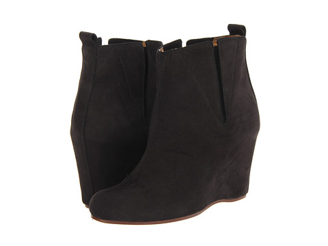 MM6 Maison Margiela - Suede Ankle Wedge Boots (Black/Black) Women