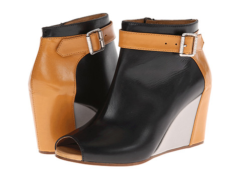 MM6 Maison Margiela - Colorblock Peep-Toe Wedges (Black/Brown/Frey) Women