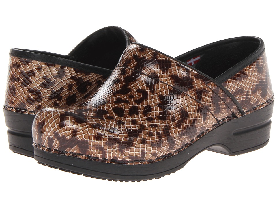 Sanita - Professional Monty (Brown Snake Printed Embossed Leather) Women's Clog Shoes