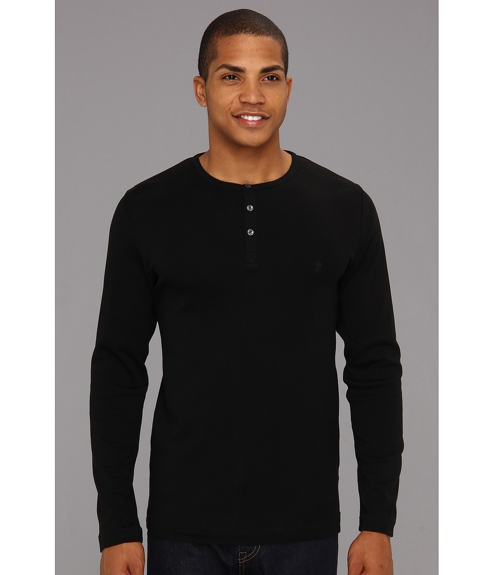 French Connection - L/S Crew Henley (Black) Men's Clothing