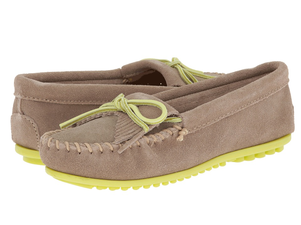 Minnetonka - Kilty Moc (Colored Sole Lace) (Stone Suede/Lime) Women's Moccasin Shoes